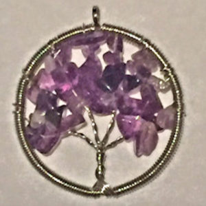 Amethyst Crystal Tree of Life Pendant