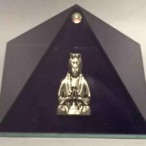 Purple Glass Pyramid Box With Kwan Yin