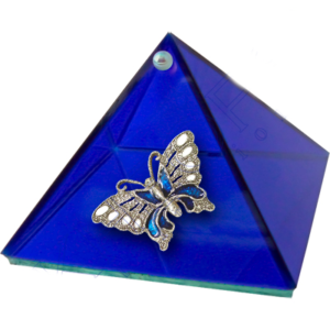 Cobalt Blue Glass Pyramid Box With Butterfly